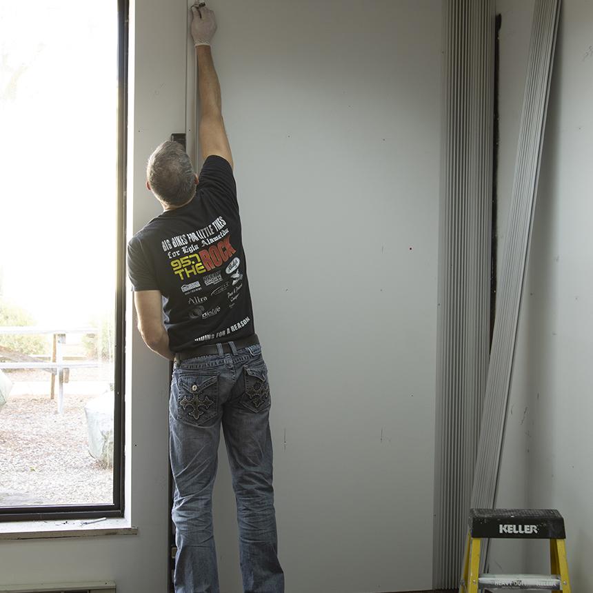 Marking drill holes of J-trim