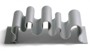 curvy silver metal panel