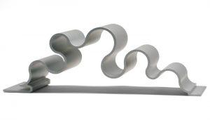 curvy silver dimensional metal panel