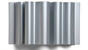 curved silver dimensional metal panel